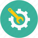 preferences, settings, tools, wrench in gear icon