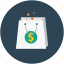dollar sign, shopper, shopping, shoppingbag icon