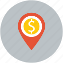 dollar currency pointer, dollarsign, finance, navigation pin icon