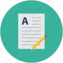 page format, pencil, text format, text sheet icon