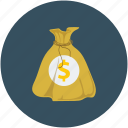 dollar sign, money sack, pouch, sack icon