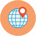 globe, map pin pointer, navigation pin, travel concept icon
