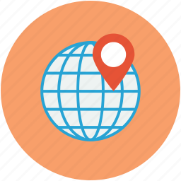 globe, map pin pointer, navigation pin, travel concept icon