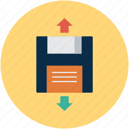 disk, floppy, floppy with arrows, up and down icon