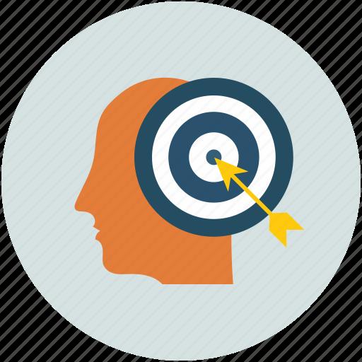 creative minded, creative mindedness, dart on dartboard, human mind icon