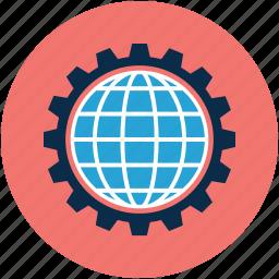 gear, globe, globe gear, world in gear icon