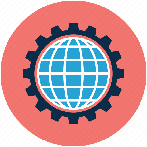 gear, globe, globe gear, world in gear icon