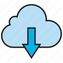 arrow, cloud, download, internet, network icon