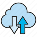 cloud, cloud commputing, data, internet, network, server, transfer icon