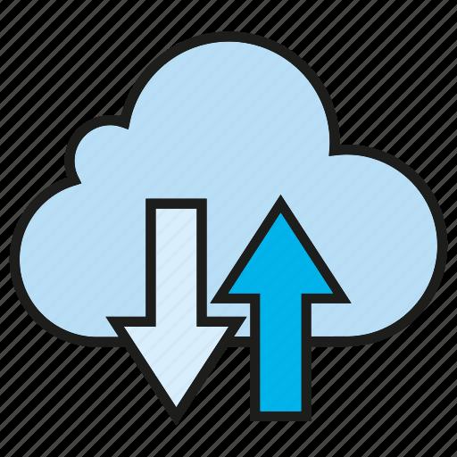cloud, cloud commputing, data, internet, network, server, transfer icon