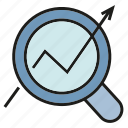 analytics, arrow, chart, growth, magnifier glass, seo, trend icon