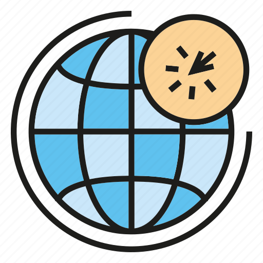 click, global, network, pointer, world icon