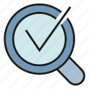 approve, check, magnifier glass, pass, search engine, sure, tick icon