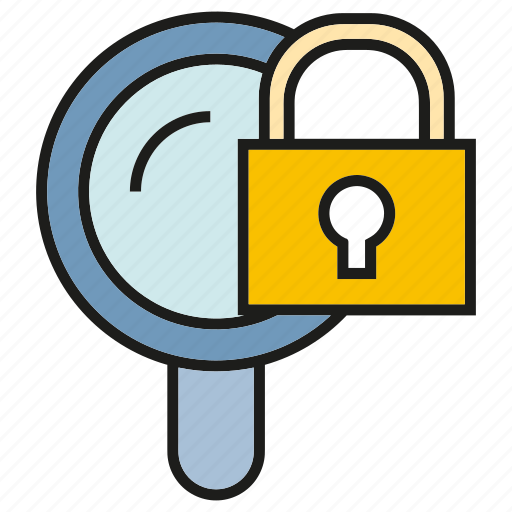 key, lock, magnifier glass, protect, search, search engine, secure icon