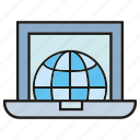 computer, global, globe, internet, laptop, web, world icon