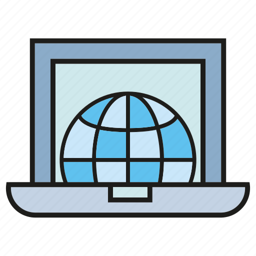 computer, global, globe, internet, laptop, web, world icon