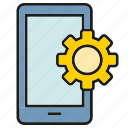 cog, gear, mobile, optimization, phone, setting icon
