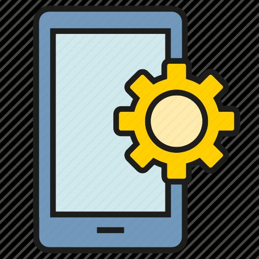 cog, gear, mobile, optimization, phone, setting icon