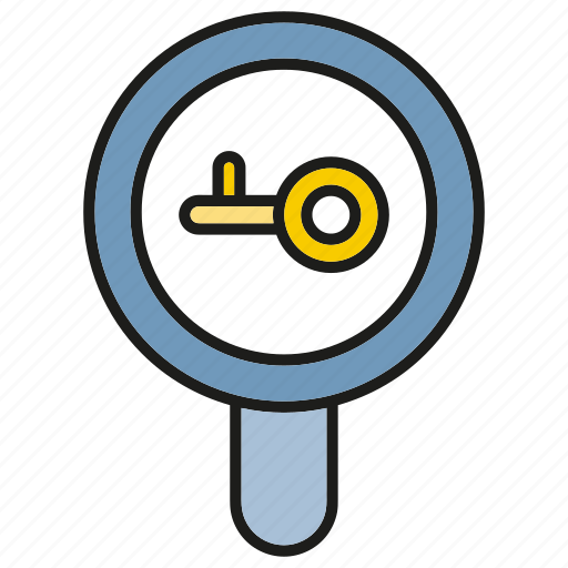 key, keyword, lock, magnifier, protect, search engine, secure icon