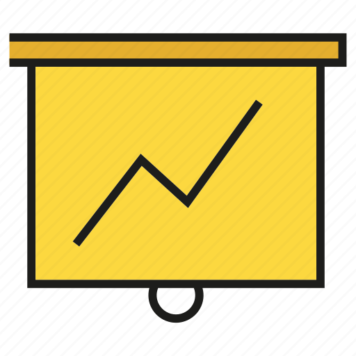 chart, graph, growth, presentation, stats, white board icon