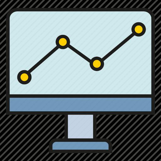analytics, chart, computer, desktop, graph, plot, trend icon