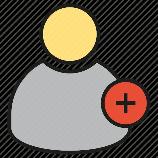 add, avatar, friend, people, profile, user icon