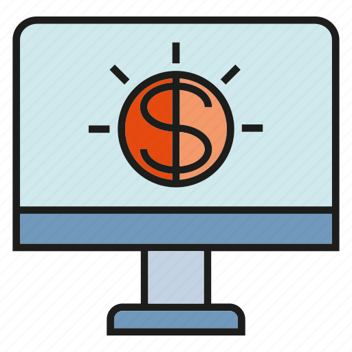 computer, desktop, dollar, money, screen icon