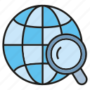 globe, internet, magnifier glass, network, optimization, seo, world icon