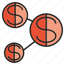 connect, dollar, finance, link, money icon