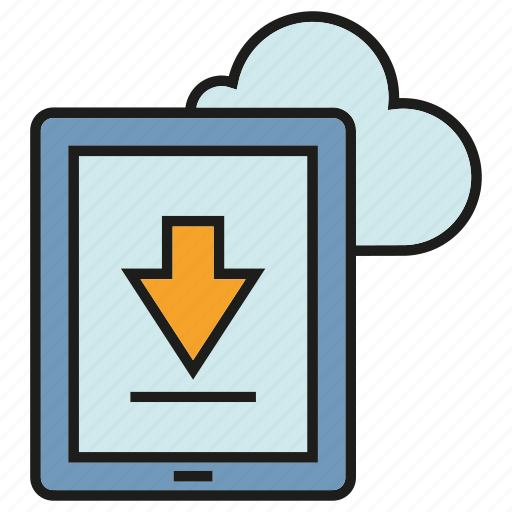 arrow, cloud, download, internet, mobile, network, phone icon