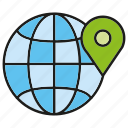 global, globe, location, pin, pointer icon
