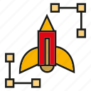 art, design, launch, pencil, rocket icon