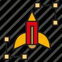 art, design, launch, pencil, rocket