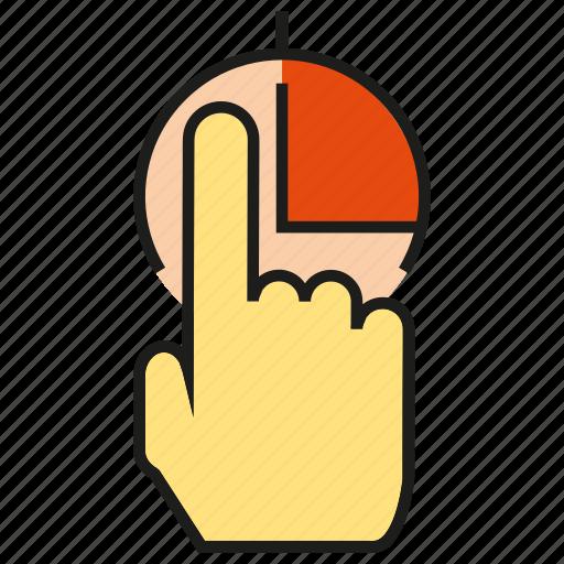hand, market share, pie chart, pointer icon