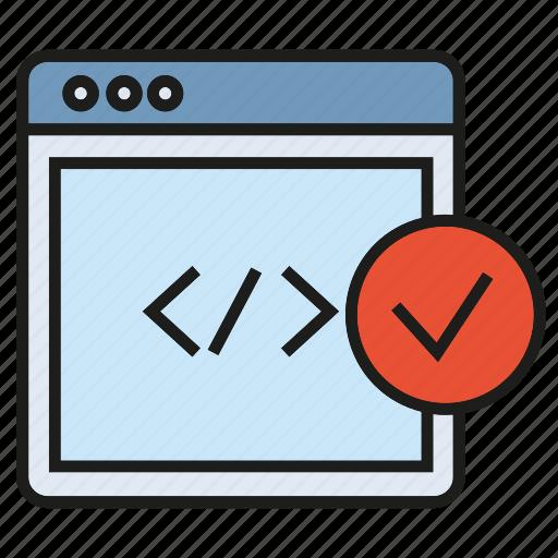 check, coding, developer, internet, programming, tick, web icon