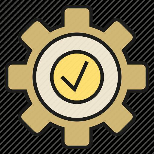 check, cog, gear, tick icon