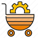 buy, cart, cog, gear, shopping cart icon