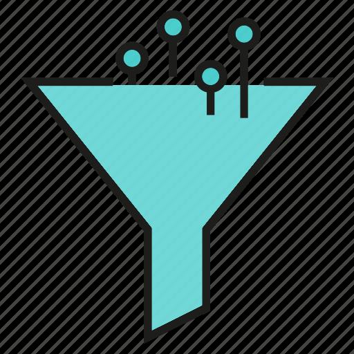 analysis, analytics, filter, funner icon