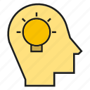 creative, head, idea, light bulb, mind, ponder, think icon