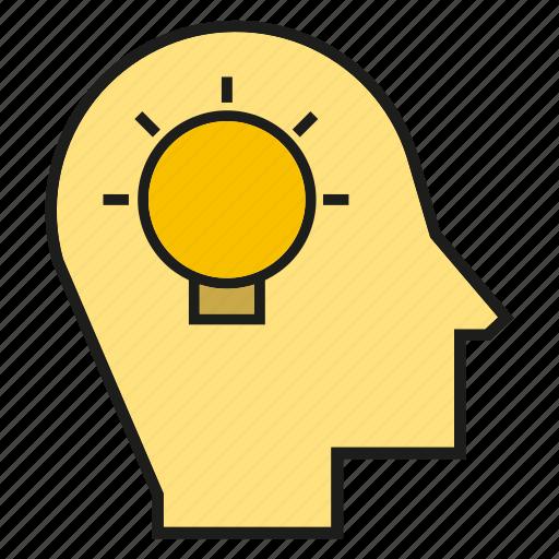 creative, head, idea, light bulb, mind, ponder, think icon