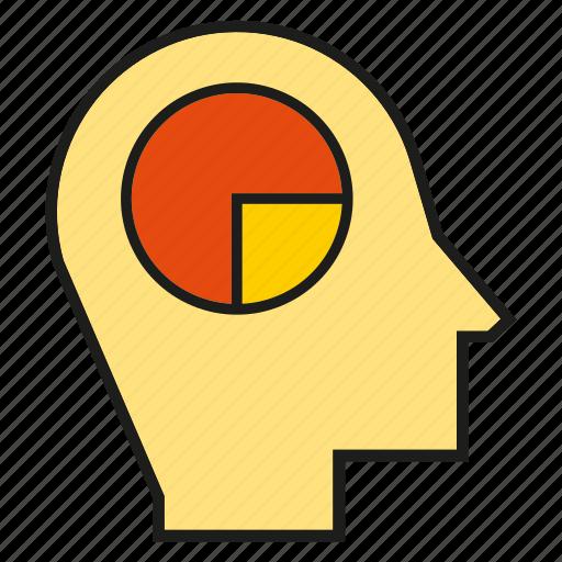 head, market share, pie chart, think icon