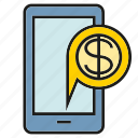 gadget, mobile, money, phone icon