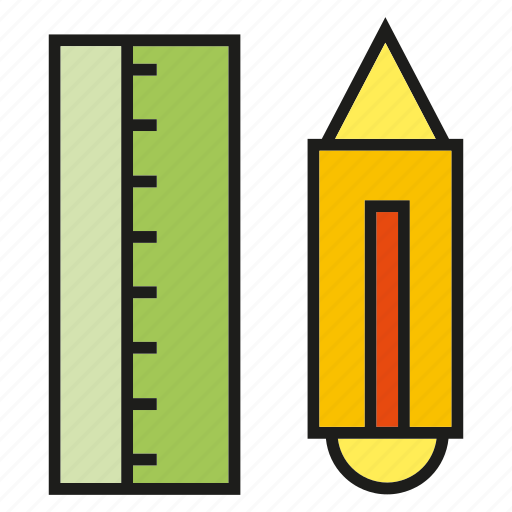 art, design, pencil, ruler, scale, stationery icon