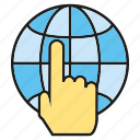 global, globe, hand, internet, network, touch, world icon