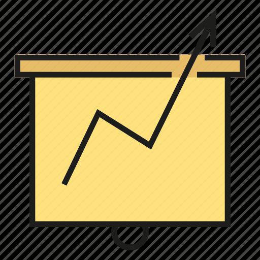 arrow, chart, graph, growth, presentation, slide icon
