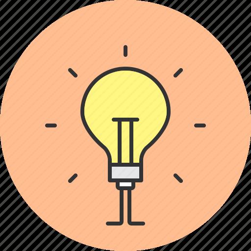 bright, bulb, concept, idea, light icon
