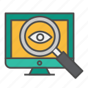 computer, eye, looking glass, monitoring icon