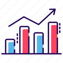 bar graph, barchart, business growth chart, data analytics, growth graph icon