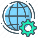 cogwheel, development, gear, globe, internet, web, web development icon