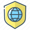 globe, protection, security, shield, website icon